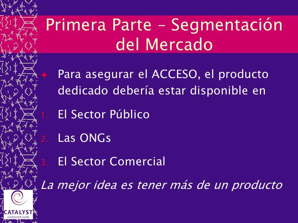Primera Parte – Segmentación del Mercado Para asegurar el ACCESO, el producto dedicado debería estar disponible en 1. El Sector Público 2. Las ONGs 3.