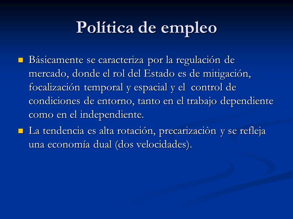 Política de empleo Básicamente se caracteriza por la regulación de mercado, donde el rol del Estado es de mitigación, focalización temporal y espacial