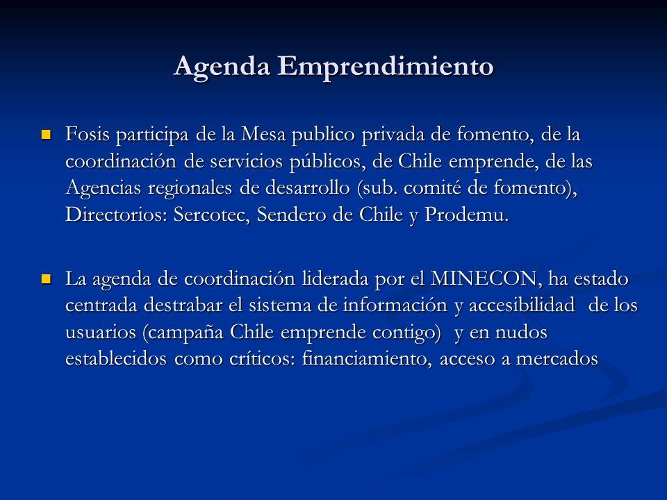 Agenda Emprendimiento Fosis participa de la Mesa publico privada de fomento, de la coordinación de servicios públicos, de Chile emprende, de las Agenc