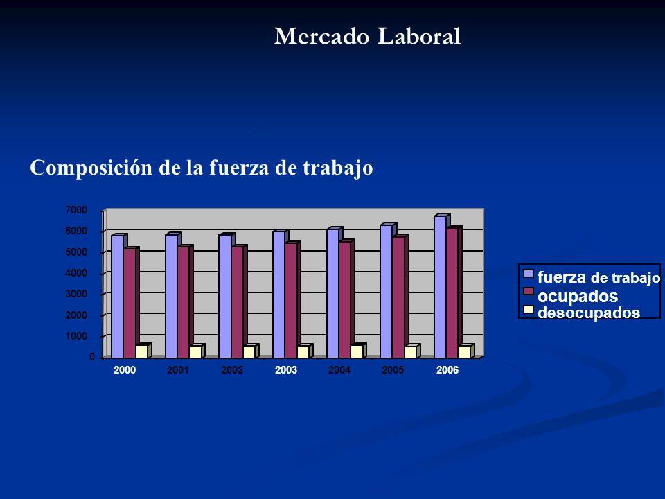 Composición de la fuerza de trabajo (Junio-Agosto) La fuerza de trabajo crece de 5.814.020 personas en el trienio junio agosto del 2000 a 6.755.880 personas en el mismo trienio del año 2006.