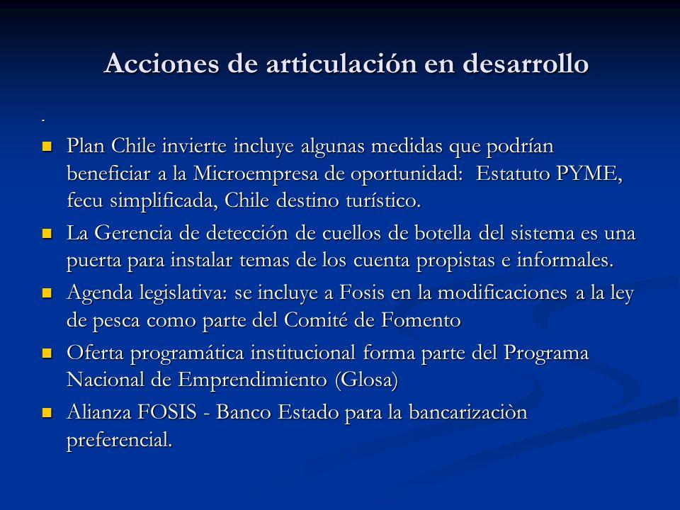 Acciones de articulación en desarrollo. Plan Chile invierte incluye algunas medidas que podrían beneficiar a la Microempresa de oportunidad: Estatuto