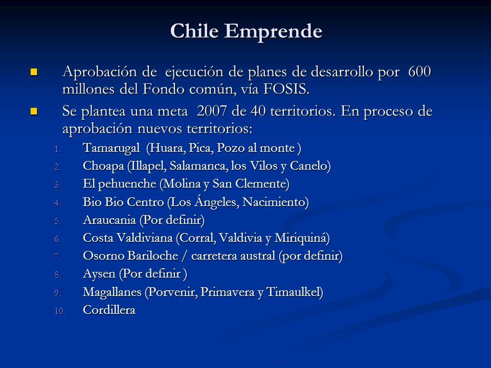 Chile Emprende Aprobación de ejecución de planes de desarrollo por 600 millones del Fondo común, vía FOSIS. Aprobación de ejecución de planes de desar