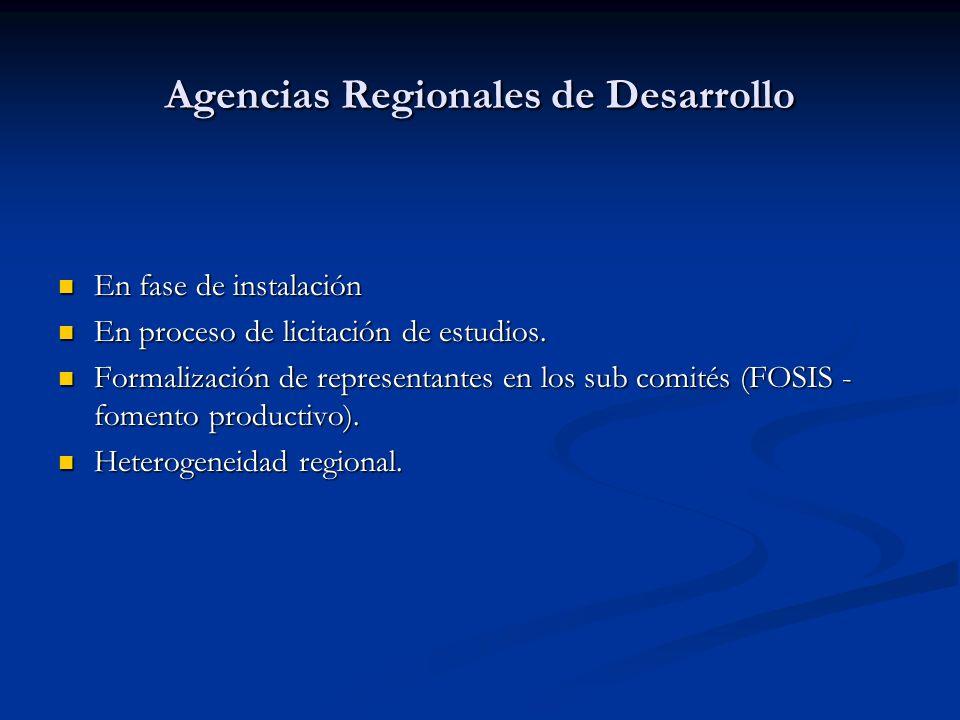 Agencias Regionales de Desarrollo En fase de instalación En fase de instalación En proceso de licitación de estudios. En proceso de licitación de estu