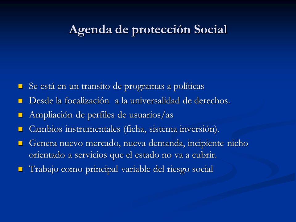Agenda de protección Social Se está en un transito de programas a políticas Se está en un transito de programas a políticas Desde la focalización a la