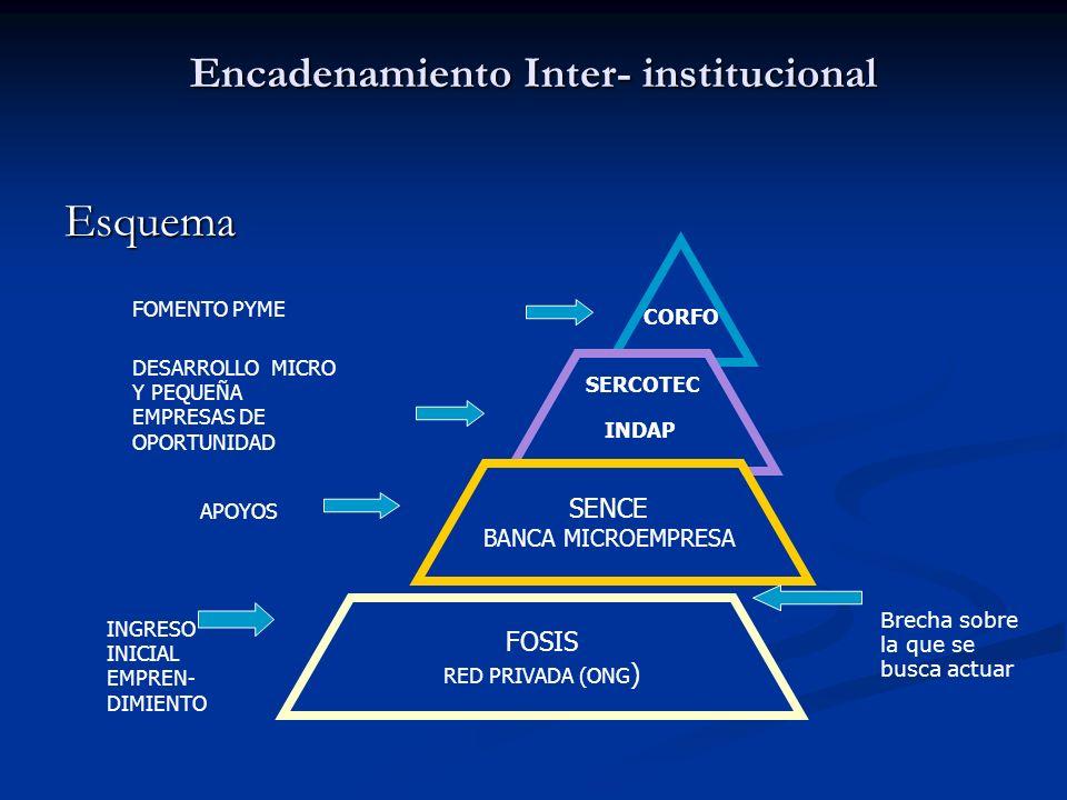 Encadenamiento Inter- institucional Esquema CORFO SERCOTEC INDAP SENCE BANCA MICROEMPRESA FOSIS RED PRIVADA (ONG) INGRESO INICIAL EMPREN- DIMIENTO APO