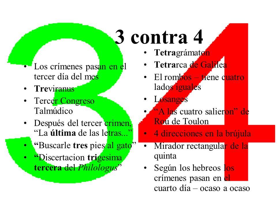 3 contra 4 Los crímenes pasan en el tercer día del mes Treviranus Tercer Congreso Talmúdico Después del tercer crimen, La última de las letras... Busc
