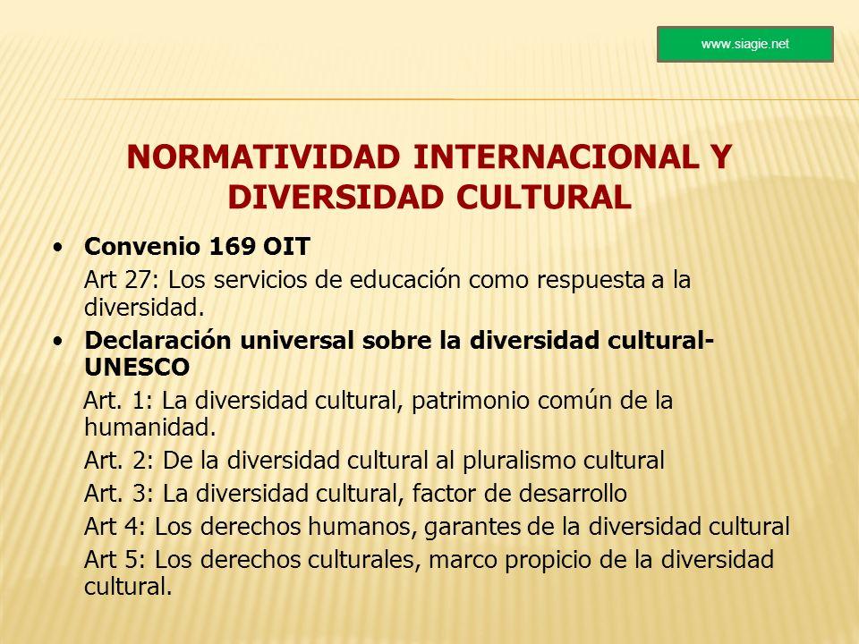 NORMATIVIDAD INTERNACIONAL Y DIVERSIDAD CULTURAL Convenio 169 OIT Art 27: Los servicios de educación como respuesta a la diversidad. Declaración unive