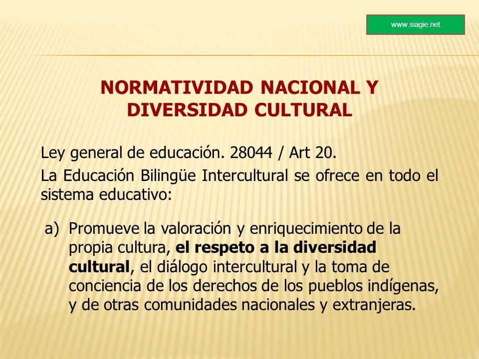 NORMATIVIDAD NACIONAL Y DIVERSIDAD CULTURAL Ley general de educación. 28044 / Art 20. La Educación Bilingüe Intercultural se ofrece en todo el sistema