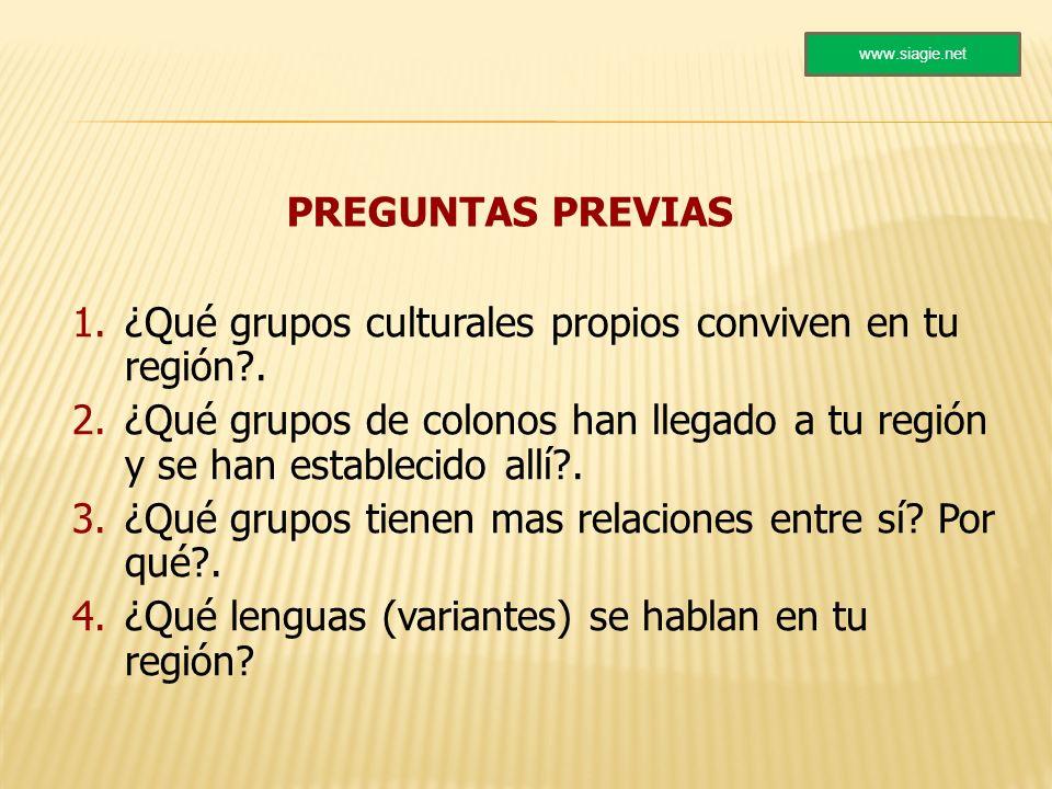 PREGUNTAS PREVIAS 1.¿Qué grupos culturales propios conviven en tu región?. 2.¿Qué grupos de colonos han llegado a tu región y se han establecido allí?