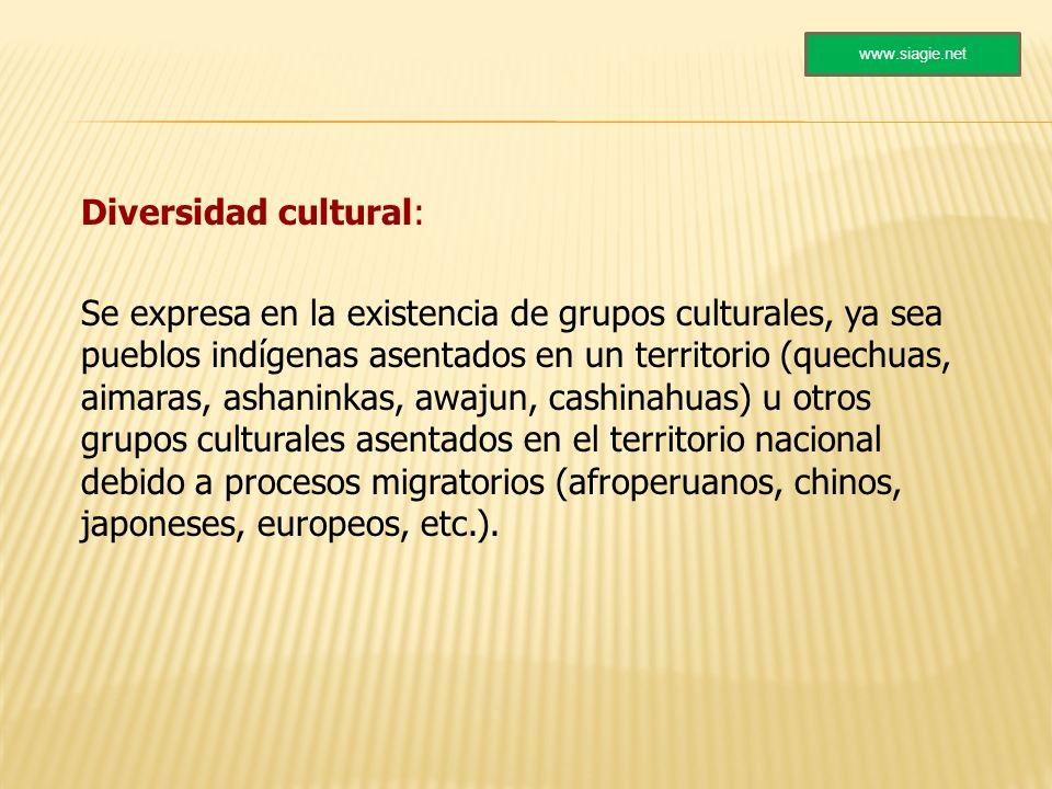 Diversidad cultural: Se expresa en la existencia de grupos culturales, ya sea pueblos indígenas asentados en un territorio (quechuas, aimaras, ashanin