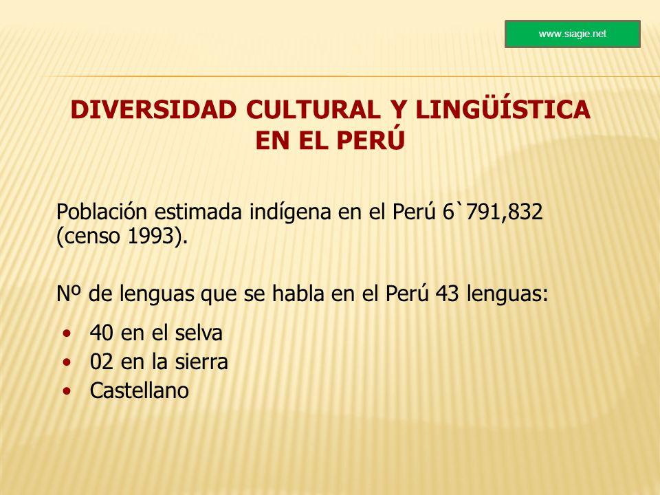DIVERSIDAD CULTURAL Y LINGÜÍSTICA EN EL PERÚ Población estimada indígena en el Perú 6`791,832 (censo 1993). Nº de lenguas que se habla en el Perú 43 l