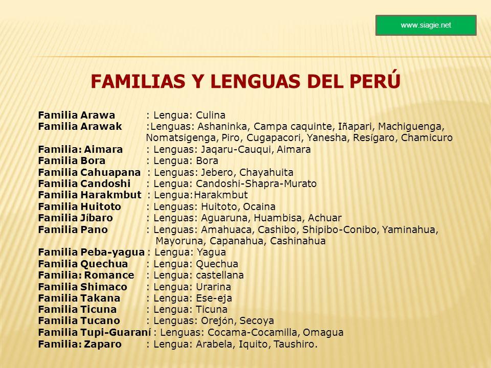 FAMILIAS Y LENGUAS DEL PERÚ Familia Arawa : Lengua: Culina Familia Arawak :Lenguas: Ashaninka, Campa caquinte, I ñ apari, Machiguenga, Nomatsigenga, P