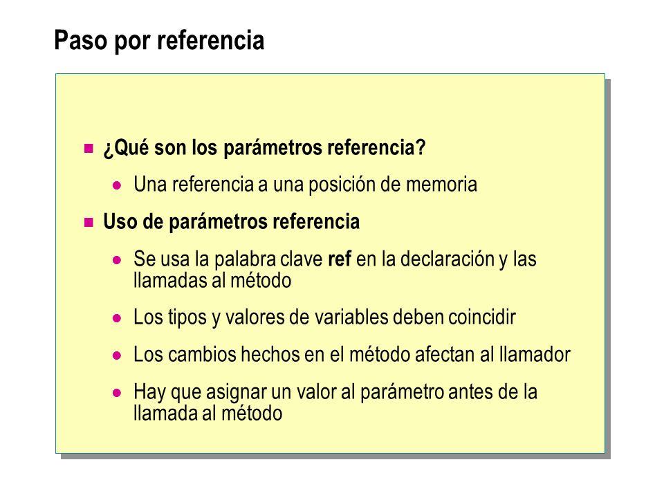 Paso por referencia ¿Qué son los parámetros referencia? Una referencia a una posición de memoria Uso de parámetros referencia Se usa la palabra clave
