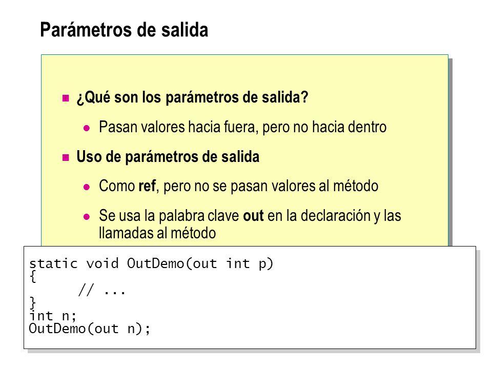 Parámetros de salida ¿Qué son los parámetros de salida? Pasan valores hacia fuera, pero no hacia dentro Uso de parámetros de salida Como ref, pero no