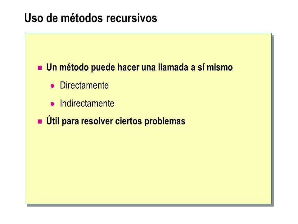 Uso de métodos recursivos Un método puede hacer una llamada a sí mismo Directamente Indirectamente Útil para resolver ciertos problemas