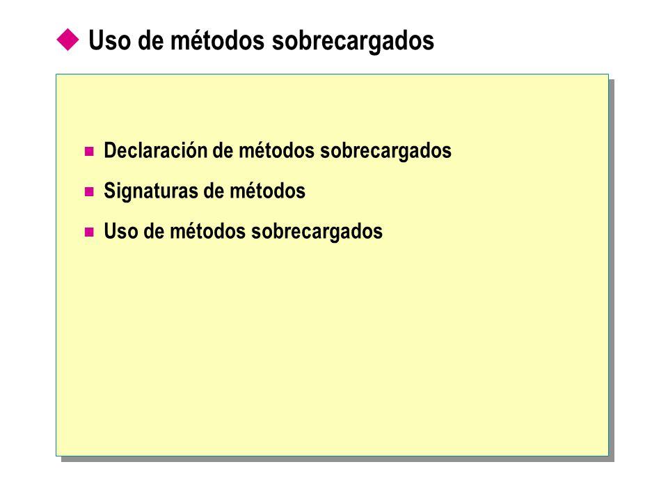 Uso de métodos sobrecargados Declaración de métodos sobrecargados Signaturas de métodos Uso de métodos sobrecargados