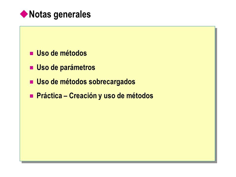 Notas generales Uso de métodos Uso de parámetros Uso de métodos sobrecargados Práctica – Creación y uso de métodos