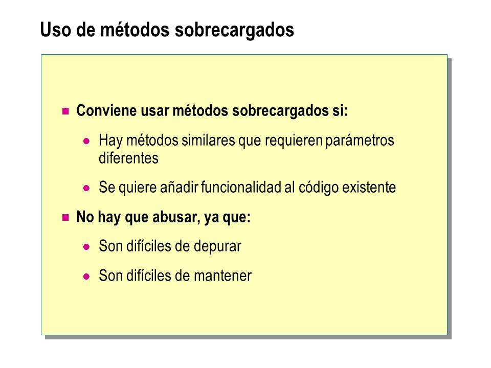 Uso de métodos sobrecargados Conviene usar métodos sobrecargados si: Hay métodos similares que requieren parámetros diferentes Se quiere añadir funcio