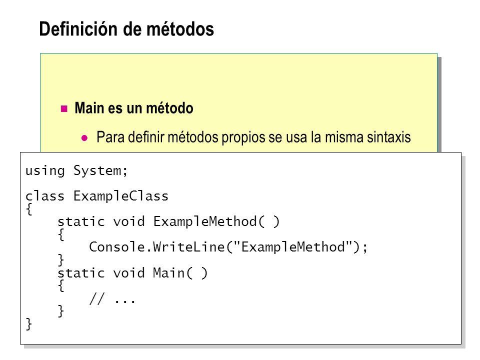 Definición de métodos Main es un método Para definir métodos propios se usa la misma sintaxis using System; class ExampleClass { static void ExampleMe