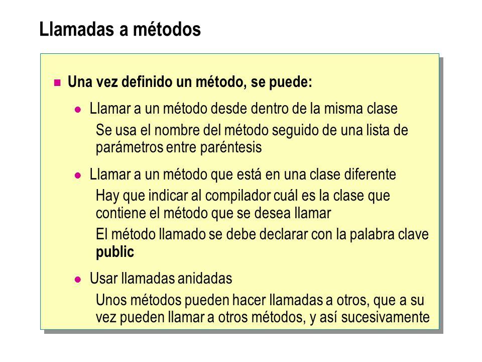 Llamadas a métodos Una vez definido un método, se puede: Llamar a un método desde dentro de la misma clase Se usa el nombre del método seguido de una