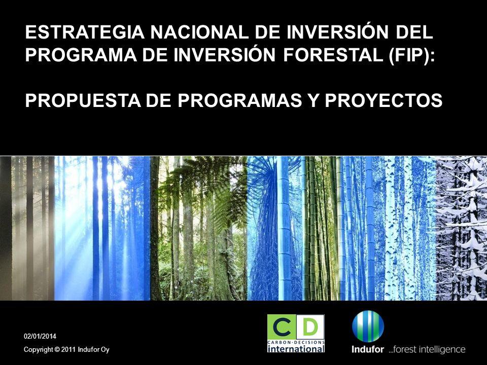 ESTRATEGIA NACIONAL DE INVERSIÓN DEL PROGRAMA DE INVERSIÓN FORESTAL (FIP): PROPUESTA DE PROGRAMAS Y PROYECTOS Copyright © 2011 Indufor Oy 02/01/2014