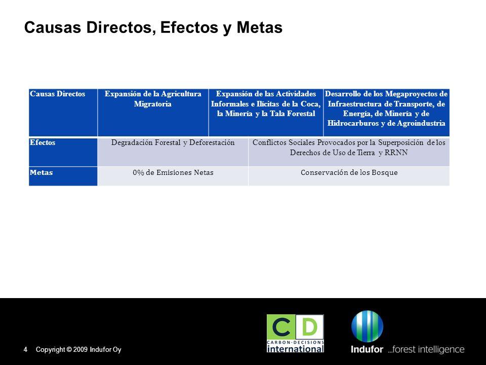 4 Causas Directos, Efectos y Metas Causas DirectosExpansión de la Agricultura Migratoria Expansión de las Actividades Informales e Ilícitas de la Coca, la Minería y la Tala Forestal Desarrollo de los Megaproyectos de Infraestructura de Transporte, de Energía, de Minería y de Hidrocarburos y de Agroindustria EfectosDegradación Forestal y DeforestaciónConflictos Sociales Provocados por la Superposición de los Derechos de Uso de Tierra y RRNN Metas0% de Emisiones NetasConservación de los Bosque