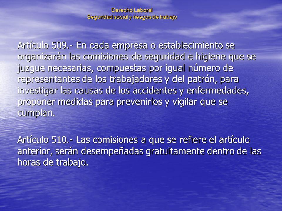Derecho Laboral Seguridad social y riesgos de trabajo Artículo 509.- En cada empresa o establecimiento se organizarán las comisiones de seguridad e hi