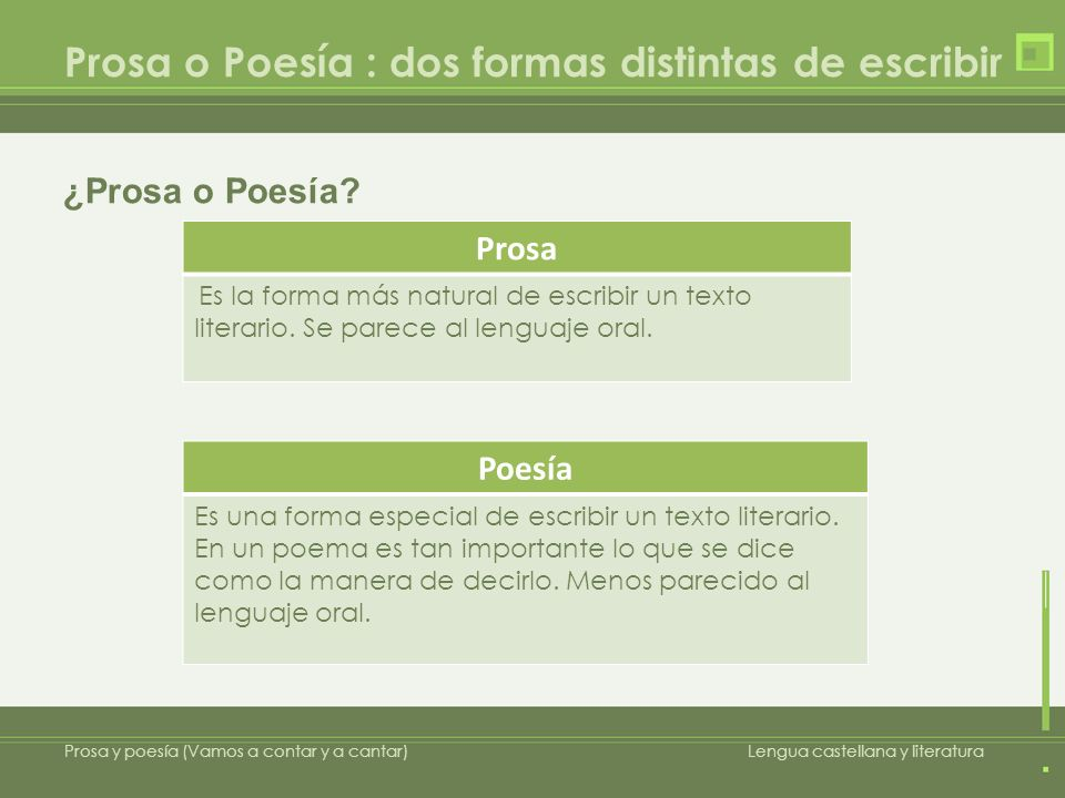 Prosa o Poesía : dos formas distintas de escribir Prosa y poesía (Vamos a contar y a cantar)Lengua castellana y literatura Prosa Es la forma más natur