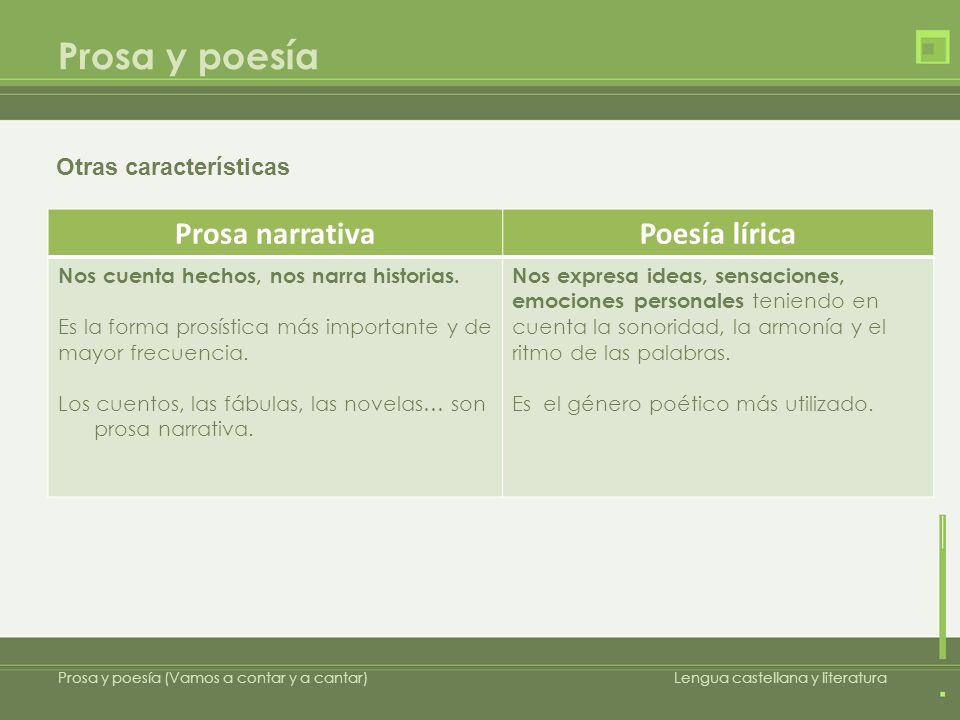 Prosa y poesía Prosa y poesía (Vamos a contar y a cantar)Lengua castellana y literatura Otras características Prosa narrativaPoesía lírica Nos cuenta