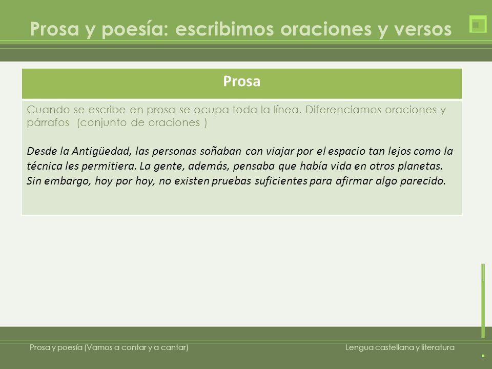 Prosa y poesía Prosa y poesía (Vamos a contar y a cantar)Lengua castellana y literatura Poesía Cuando se escribe poesía escribimos versos.