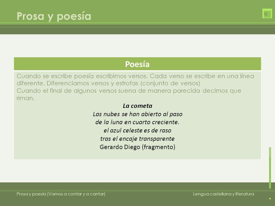 Prosa y poesía Prosa y poesía (Vamos a contar y a cantar)Lengua castellana y literatura Poesía Cuando se escribe poesía escribimos versos. Cada verso