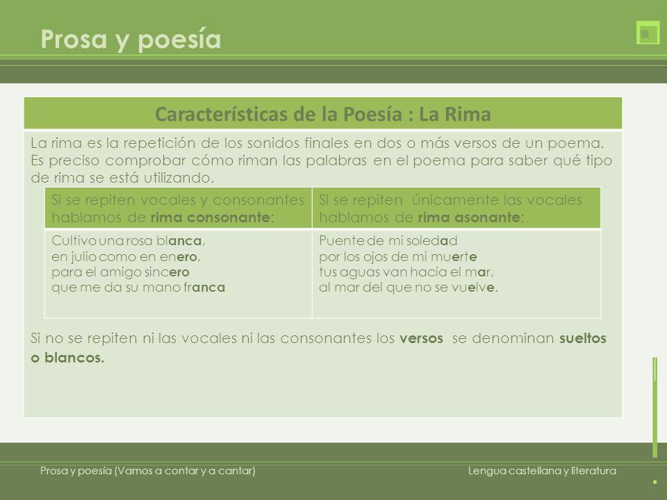 Prosa y poesía Prosa y poesía (Vamos a contar y a cantar)Lengua castellana y literatura Características de la Poesía : La Rima La rima es la repetició