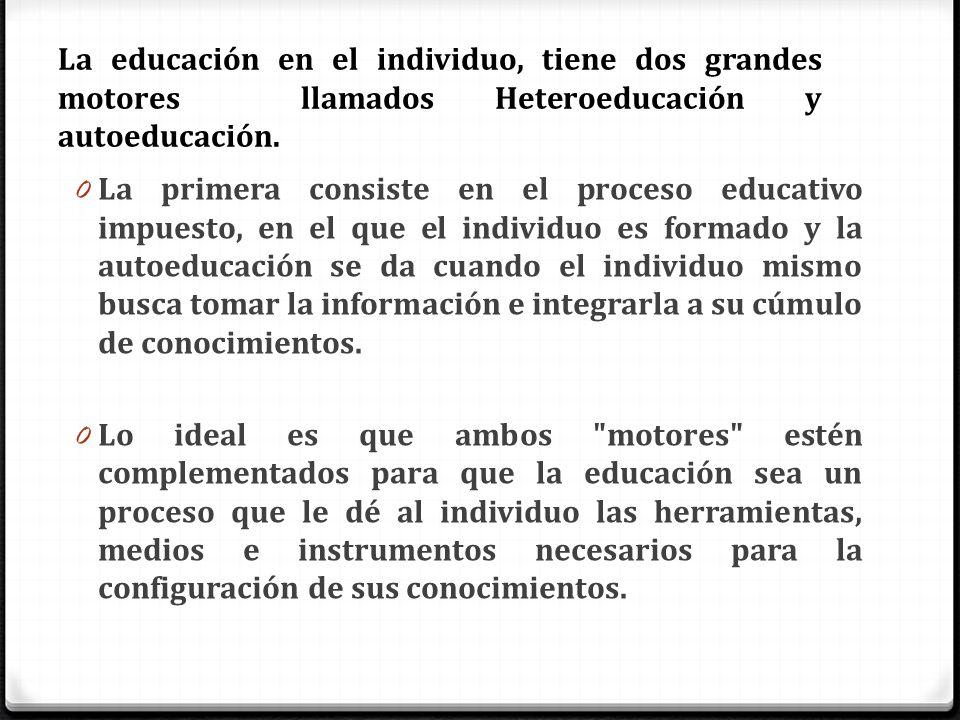 La educación en el individuo, tiene dos grandes motores llamados Heteroeducación y autoeducación. 0 La primera consiste en el proceso educativo impues