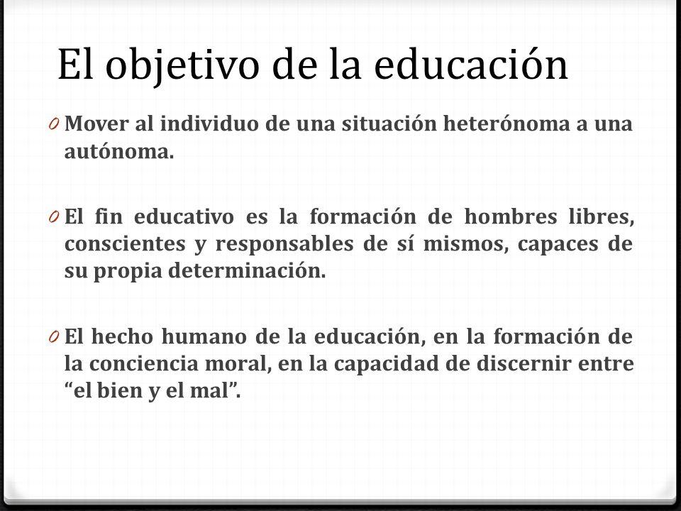 El objetivo de la educación 0 Mover al individuo de una situación heterónoma a una autónoma. 0 El fin educativo es la formación de hombres libres, con