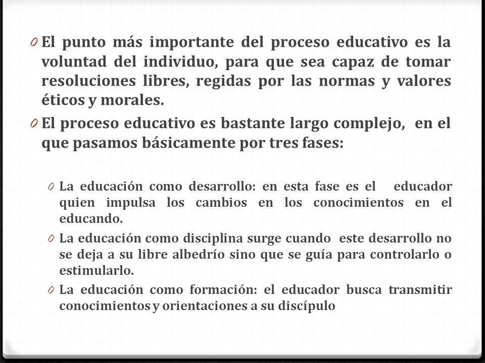 0 El punto más importante del proceso educativo es la voluntad del individuo, para que sea capaz de tomar resoluciones libres, regidas por las normas