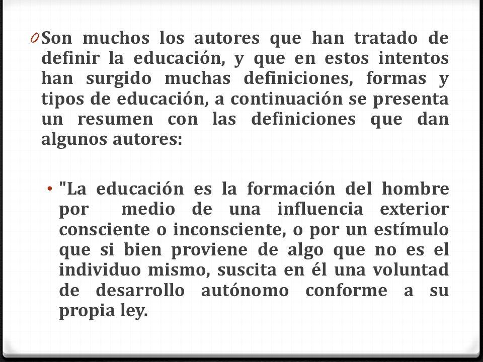 0 Son muchos los autores que han tratado de definir la educación, y que en estos intentos han surgido muchas definiciones, formas y tipos de educación