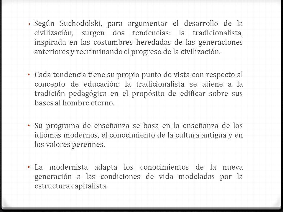 Según Suchodolski, para argumentar el desarrollo de la civilización, surgen dos tendencias: la tradicionalista, inspirada en las costumbres heredadas