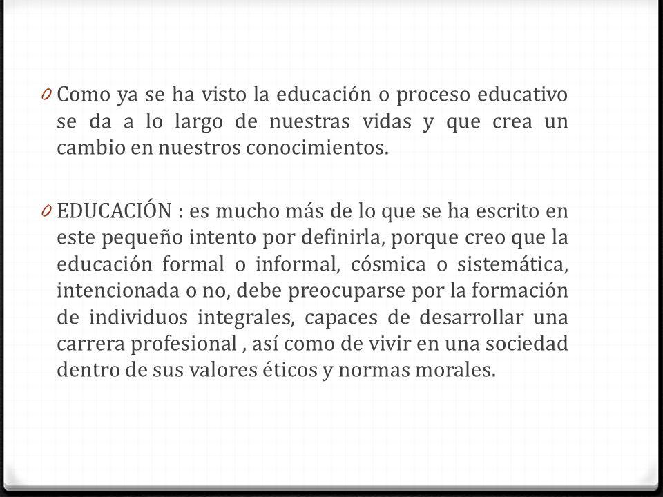 0 Como ya se ha visto la educación o proceso educativo se da a lo largo de nuestras vidas y que crea un cambio en nuestros conocimientos. 0 EDUCACIÓN