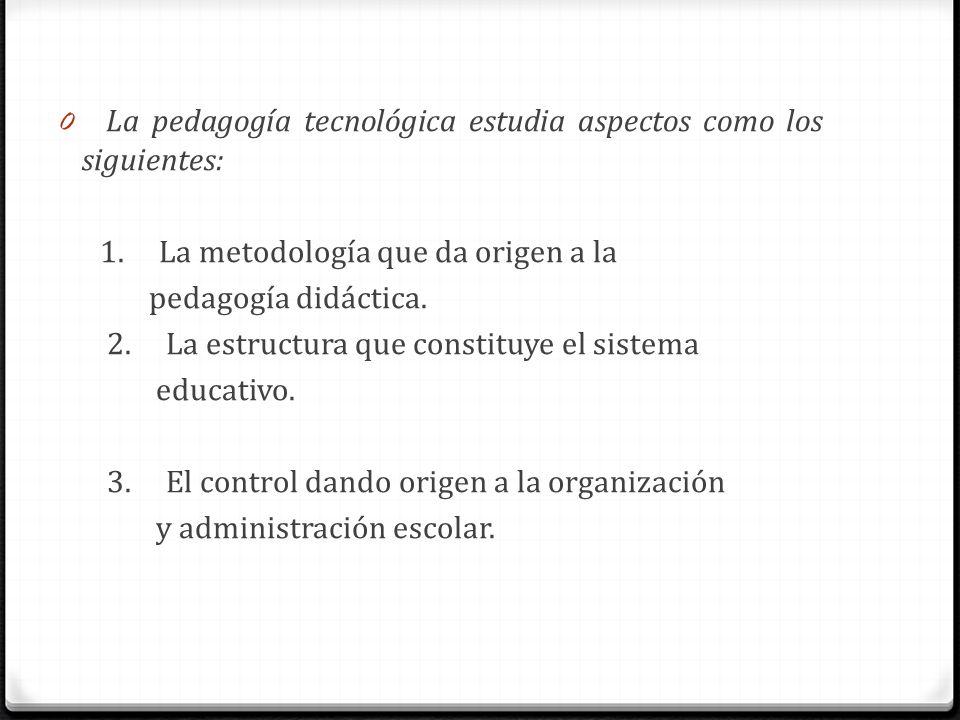 0 La pedagogía tecnológica estudia aspectos como los siguientes: 1. La metodología que da origen a la pedagogía didáctica. 2. La estructura que consti