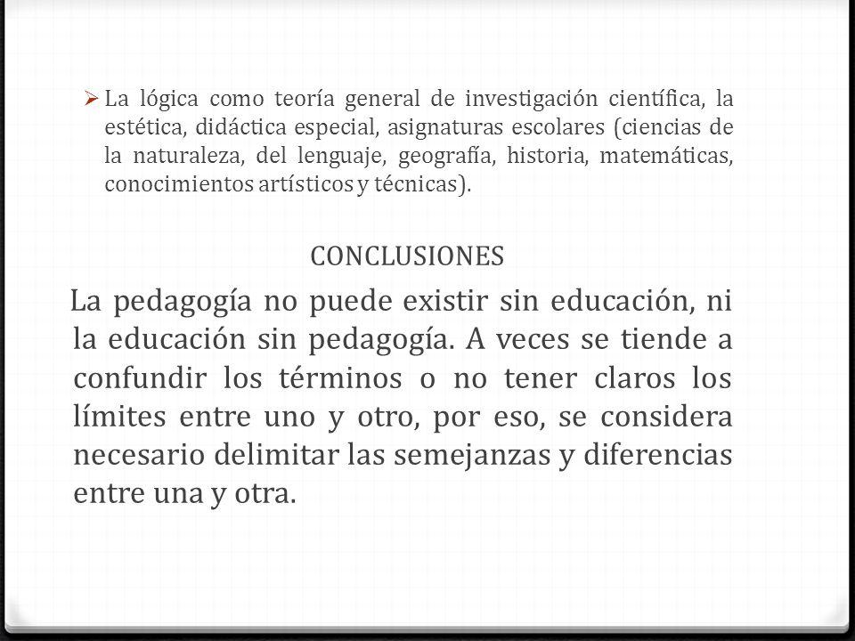 La lógica como teoría general de investigación científica, la estética, didáctica especial, asignaturas escolares (ciencias de la naturaleza, del leng