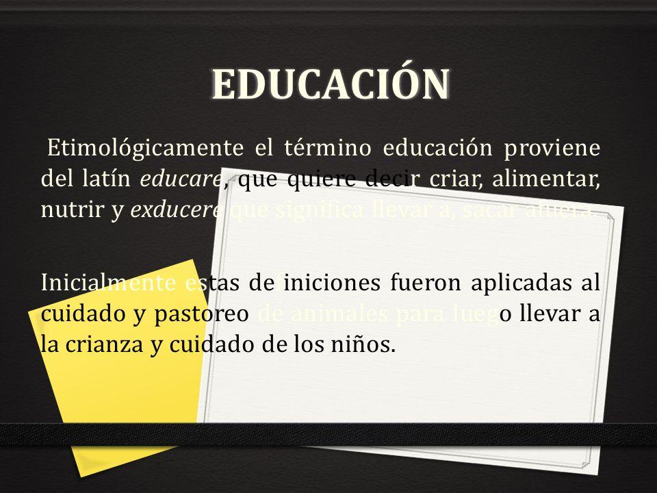 EDUCACIÓN Etimológicamente el término educación proviene del latín educare, que quiere decir criar, alimentar, nutrir y exducere que significa llevar