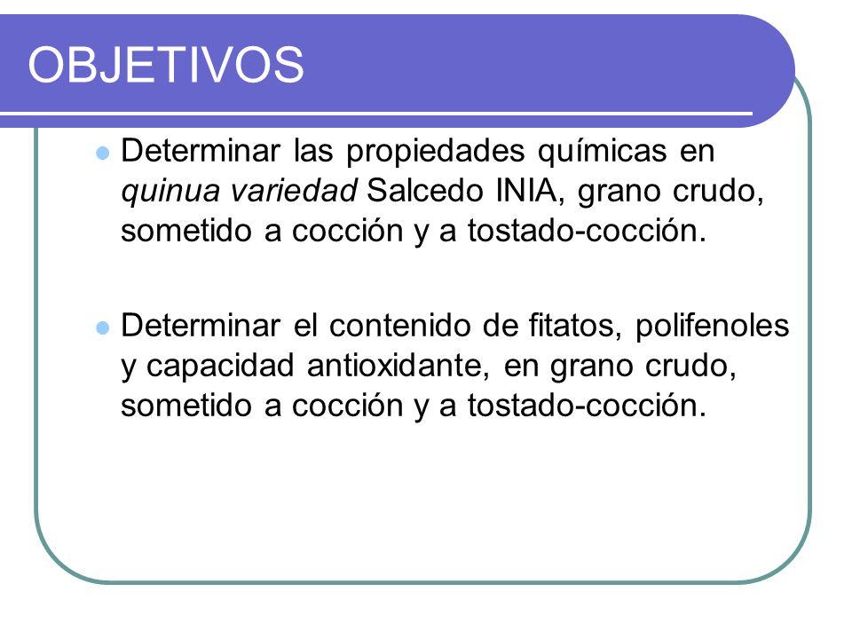 OBJETIVOS Determinar las propiedades químicas en quinua variedad Salcedo INIA, grano crudo, sometido a cocción y a tostado-cocción. Determinar el cont