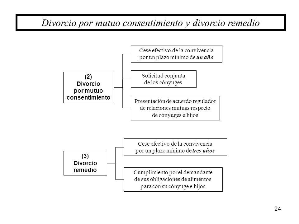 24 Divorcio por mutuo consentimiento y divorcio remedio (2) Divorcio por mutuo consentimiento Cese efectivo de la convivencia por un plazo mínimo de u