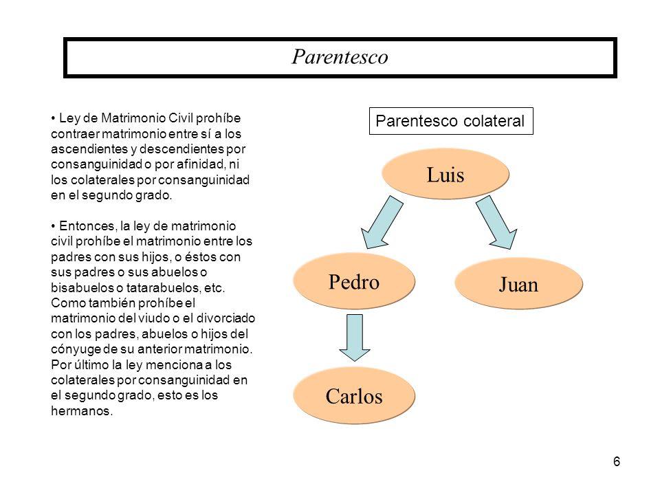Parentesco Juan Luis Pedro Carlos Parentesco colateral Ley de Matrimonio Civil prohíbe contraer matrimonio entre sí a los ascendientes y descendientes