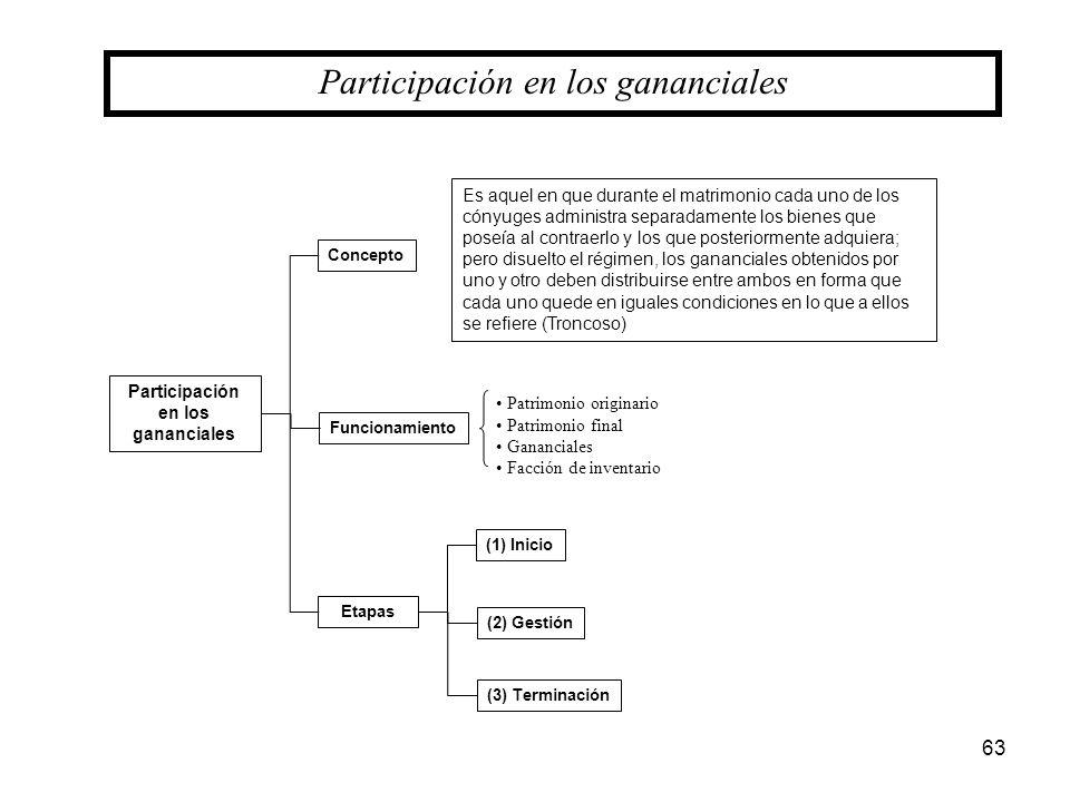Participación en los gananciales Concepto (3) Terminación Funcionamiento Patrimonio originario Patrimonio final Gananciales Facción de inventario (1)