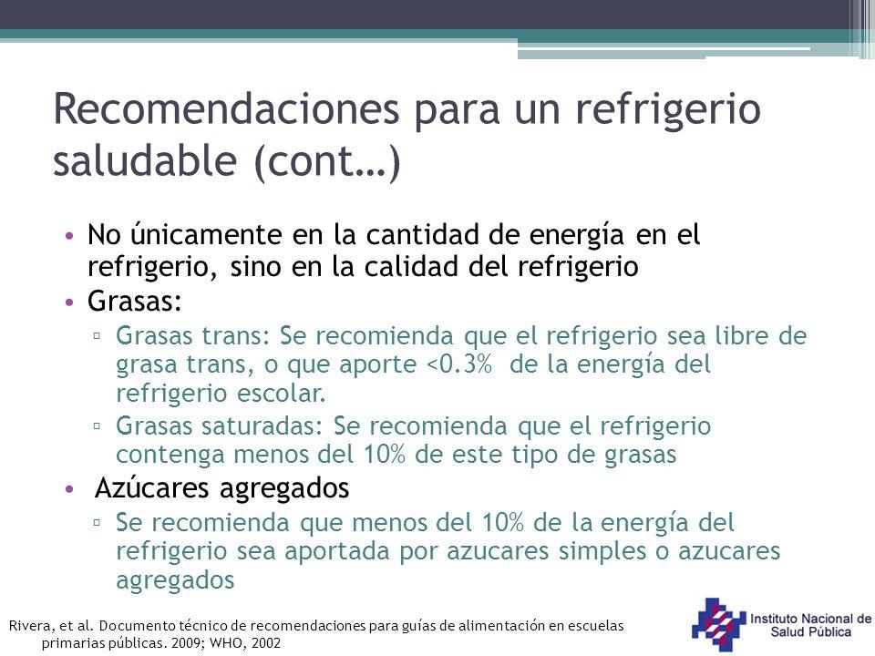 No únicamente en la cantidad de energía en el refrigerio, sino en la calidad del refrigerio Grasas: Grasas trans: Se recomienda que el refrigerio sea