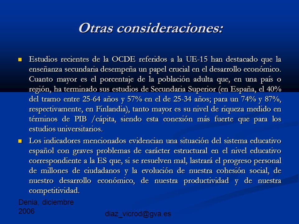 Denia, diciembre 2006 diaz_vicrod@gva.es Otras consideraciones: Estudios recientes de la OCDE referidos a la UE-15 han destacado que la enseñanza secundaria desempeña un papel crucial en el desarrollo económico.