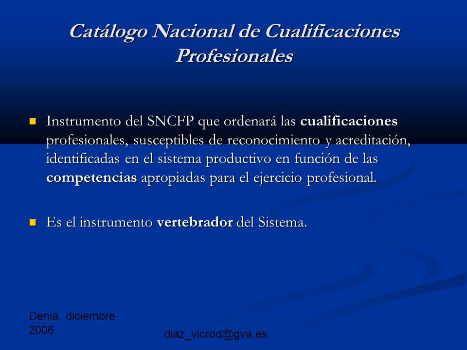Denia, diciembre 2006 diaz_vicrod@gva.es Catálogo Nacional de Cualificaciones Profesionales Instrumento del SNCFP que ordenará las cualificaciones profesionales, susceptibles de reconocimiento y acreditación, identificadas en el sistema productivo en función de las competencias apropiadas para el ejercicio profesional.