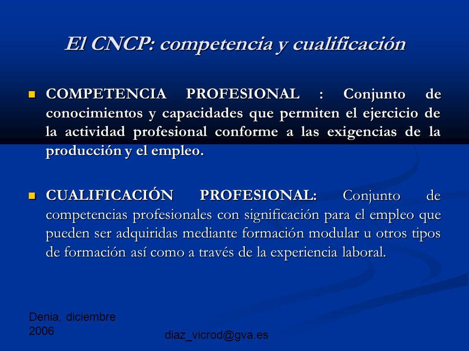 Denia, diciembre 2006 diaz_vicrod@gva.es El CNCP: competencia y cualificación COMPETENCIA PROFESIONAL : Conjunto de conocimientos y capacidades que permiten el ejercicio de la actividad profesional conforme a las exigencias de la producción y el empleo.
