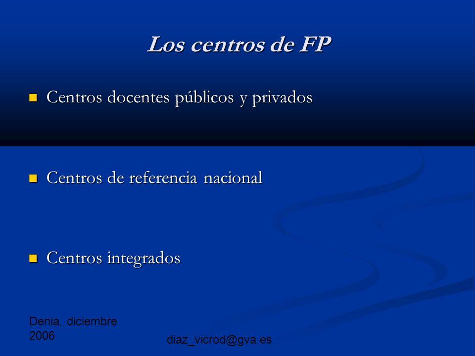 Denia, diciembre 2006 diaz_vicrod@gva.es Los centros de FP Centros docentes públicos y privados Centros docentes públicos y privados Centros de referencia nacional Centros de referencia nacional Centros integrados Centros integrados